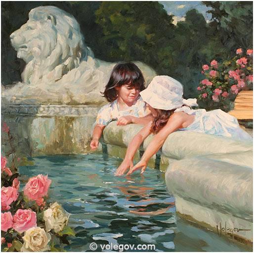 Volegov Com Near Fountain Painting