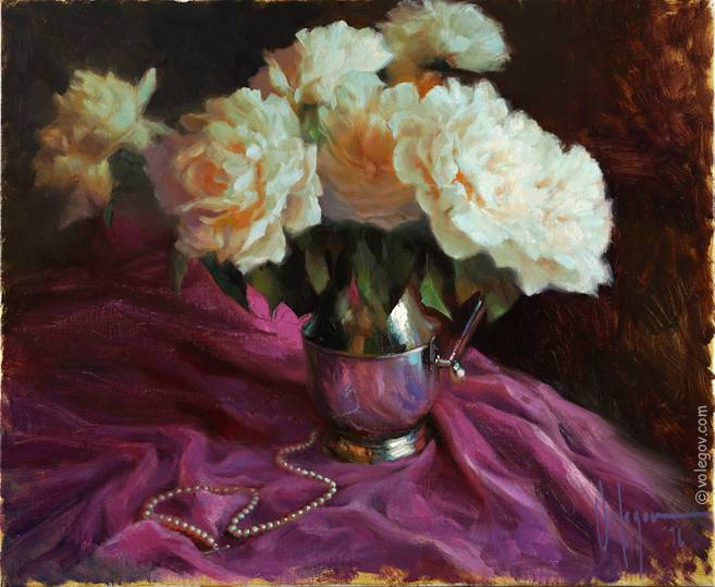 PEONIES AND PEARLS, painting
